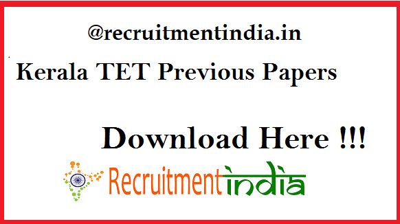 Kerala TET Previous Papers