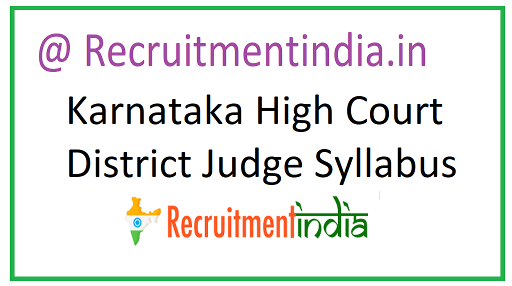 Karnataka High Court District Judge Syllabus