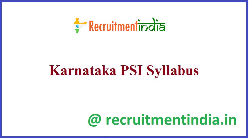 Karnataka PSI Syllabus