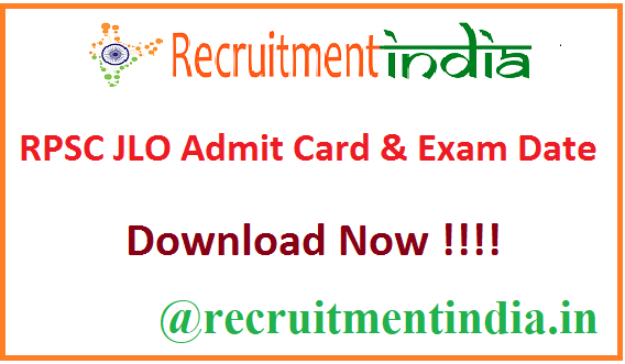 RPSC JLO Admit Card