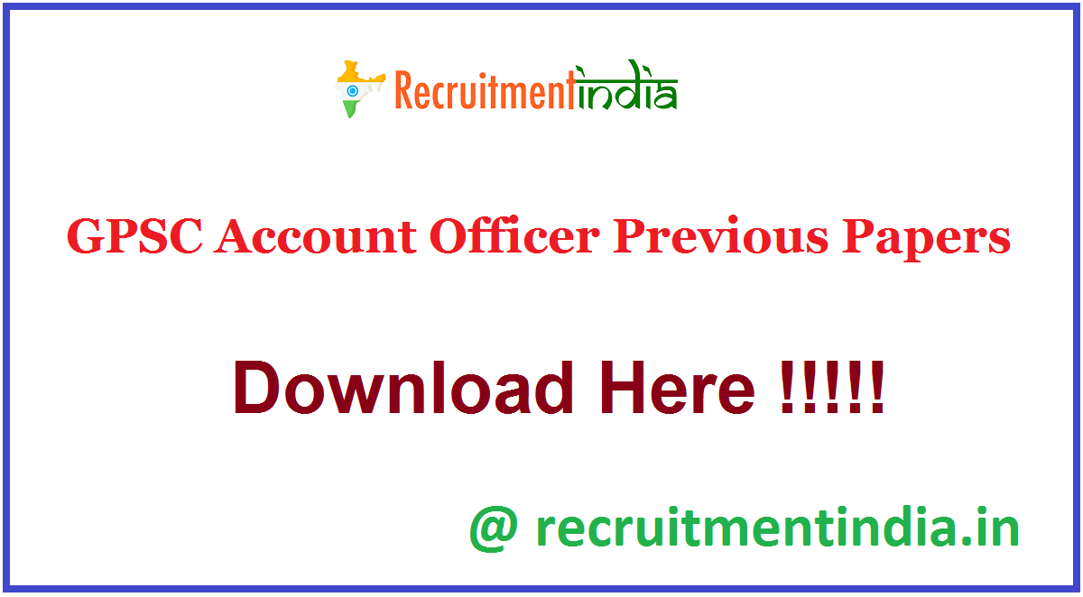 GPSC Account Officer Previous Papers