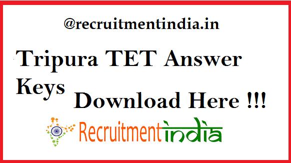 Tripura TET Answer Keys 2019