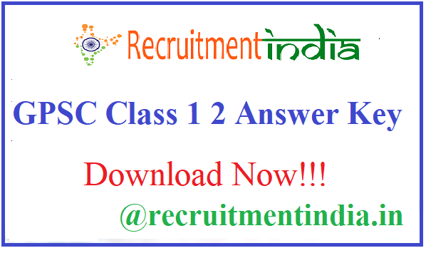 GPSC Class 1 2 Answer Key