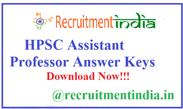 HPSC Assistant Professor Answer Keys