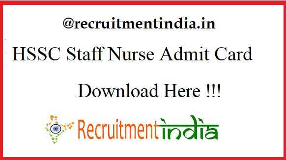 HSSC Staff Nurse Admit Card 2019