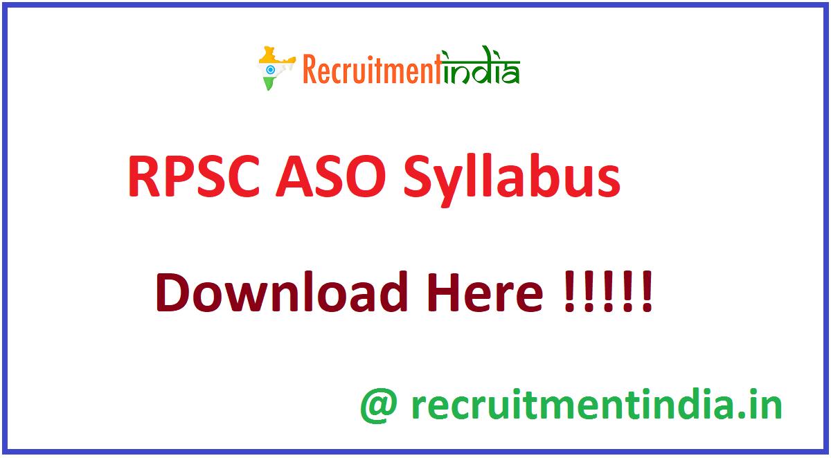 RPSC ASO Syllabus