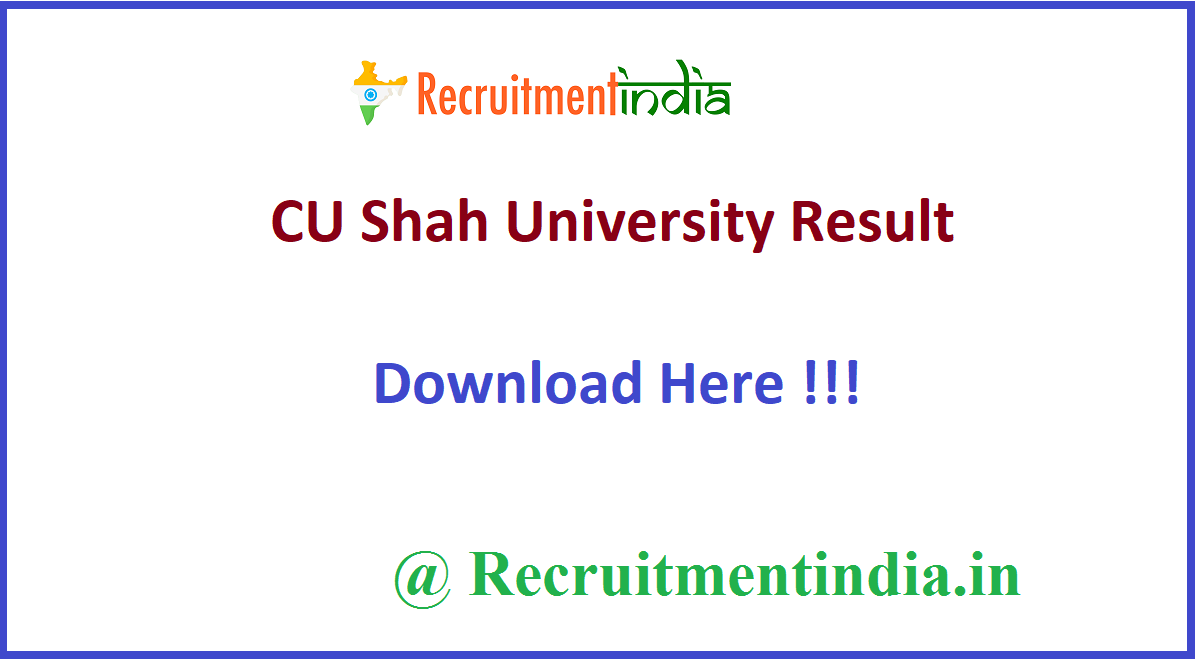 CU Shah University Result
