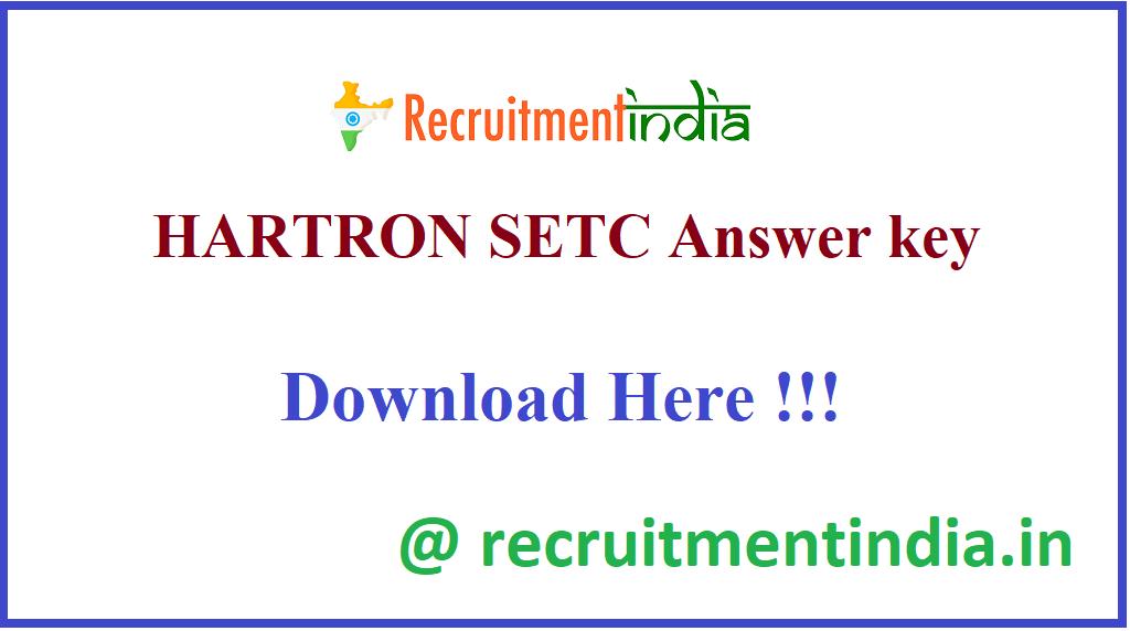 HARTRON SETC Answer key