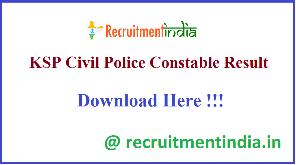 KSP Civil Police Constable Result