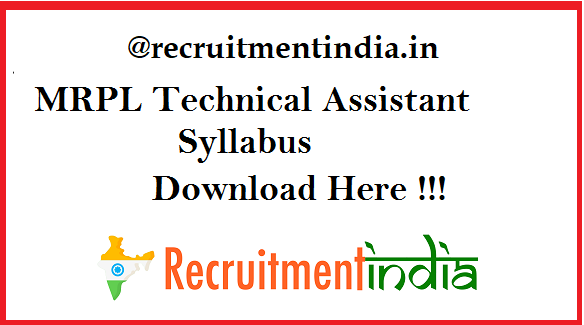 MRPL Technical Assistant Syllabus 2019