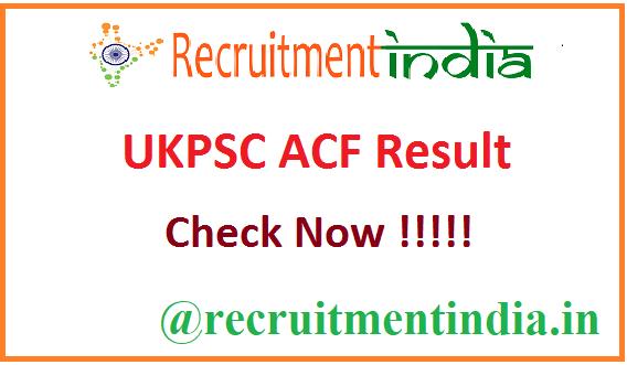 UKPSC ACF Result