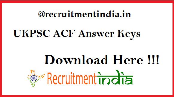 UKPSC ACF Answer Keys 2019