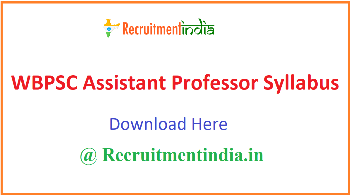 WBPSC Assistant Professor Syllabus