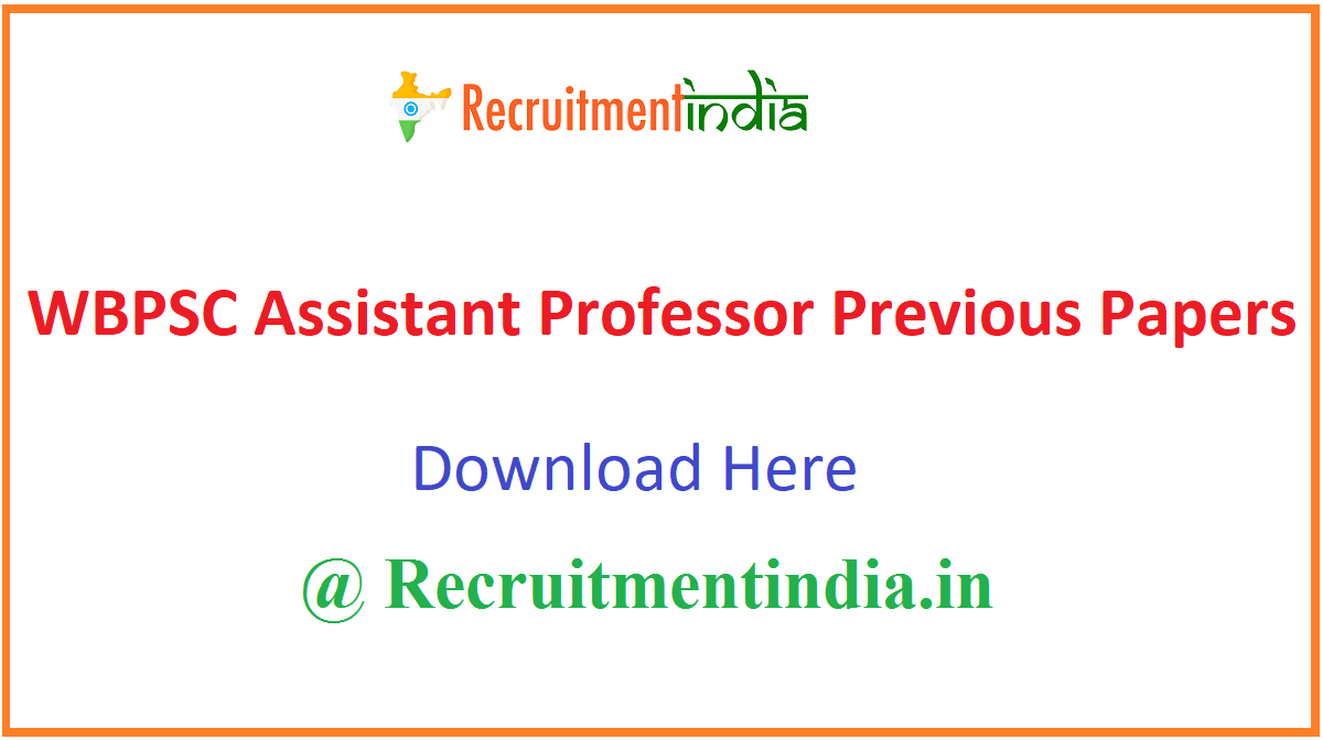 WBPSC Assistant Professor Previous Papers