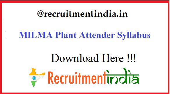 MILMA Plant Attender Syllabus