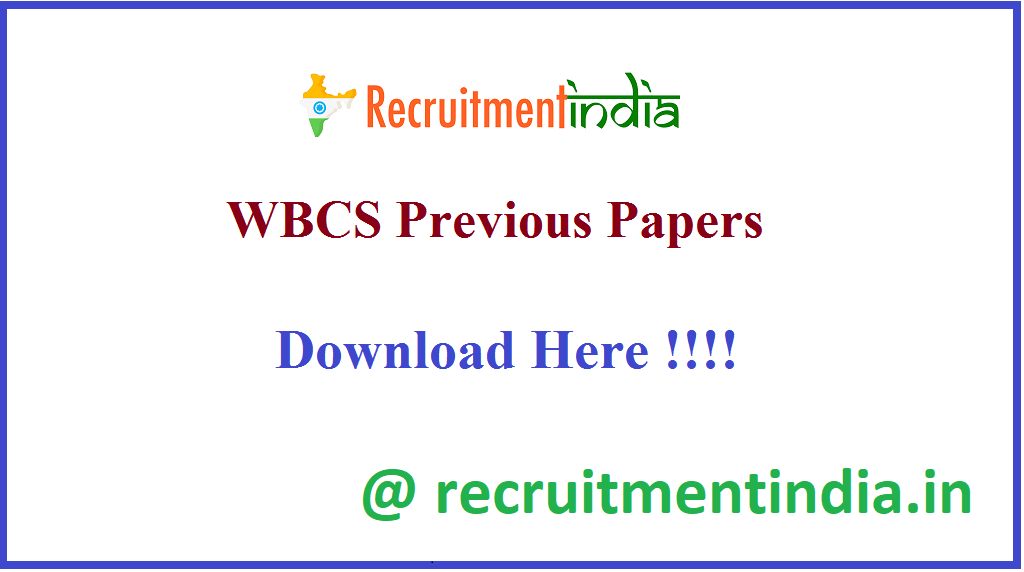 WBCS Previous Papers