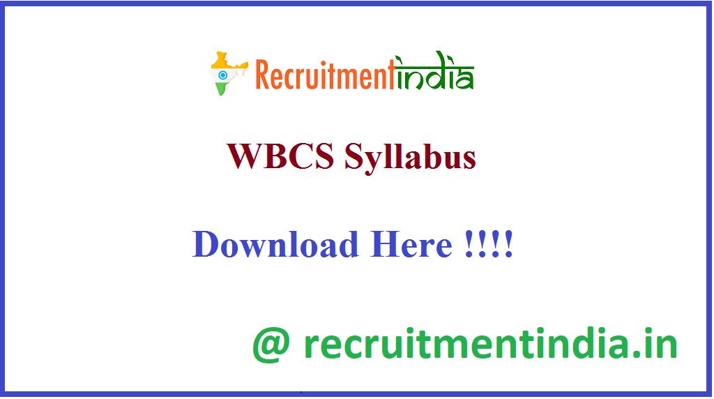 WBCS Syllabus