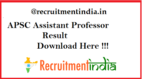APSC Assistant Professor Result 2019