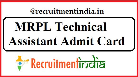 MRPL Technical Assistant Admit Card