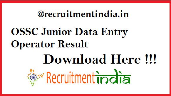 OSSC Junior Data Entry Operator Result 2019