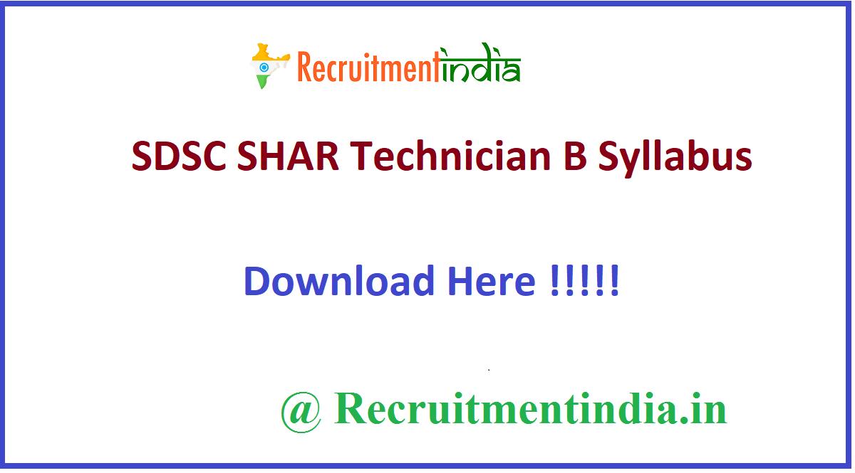 SDSC SHAR Technician B Syllabus