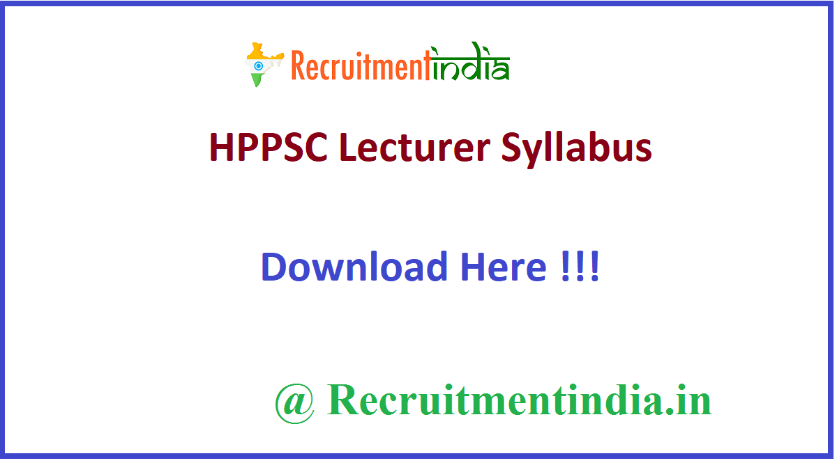HPPSC Lecturer Syllabus
