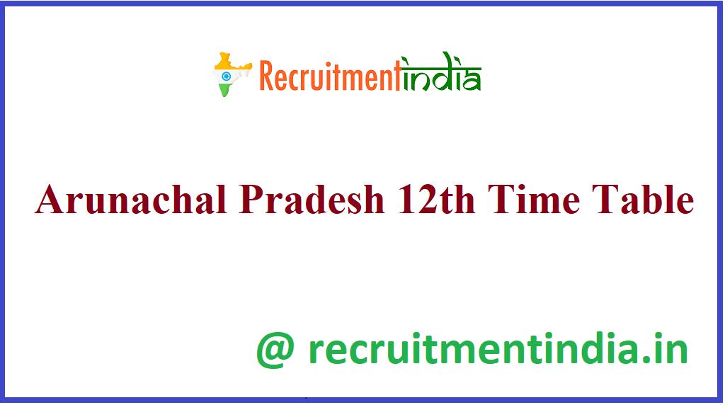 Arunachal Pradesh 12th Time Table
