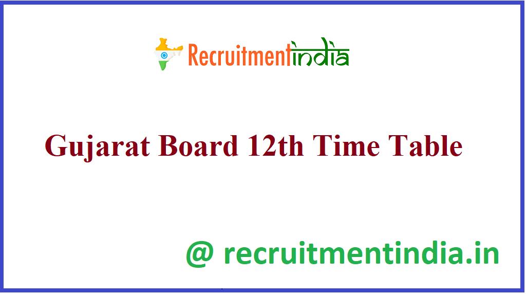 Gujarat Board 12th Time Table