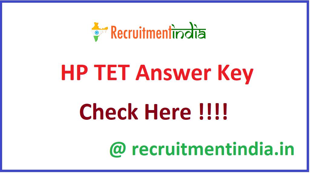 HP TET Answer Key
