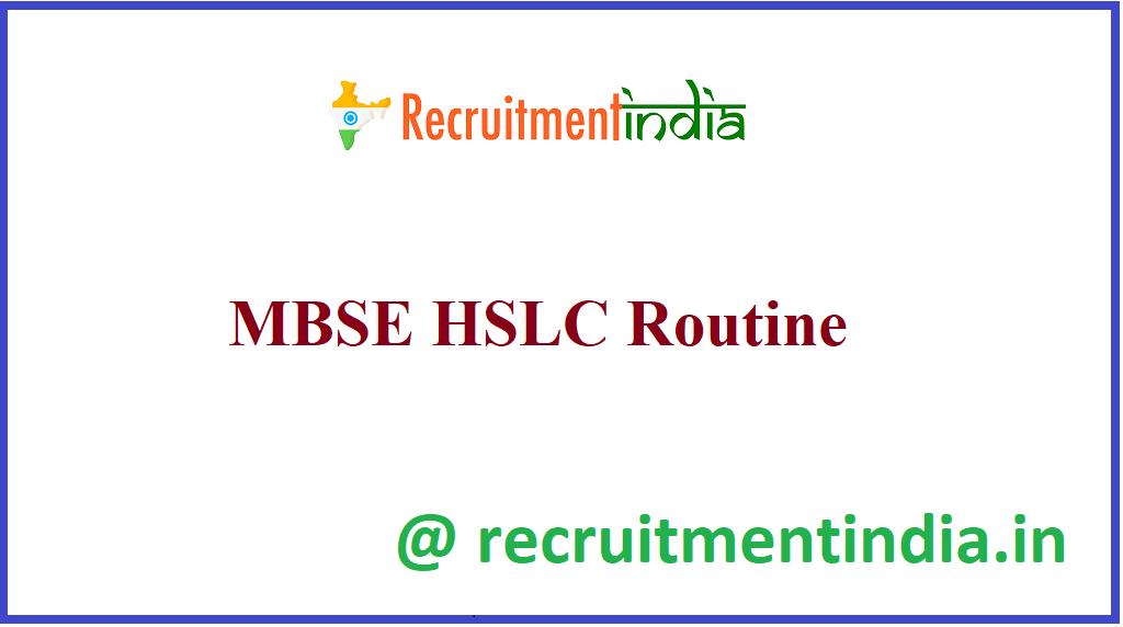 MBSE HSLC Routine