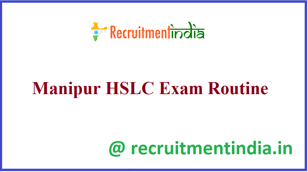 Manipur HSLC Exam Routine