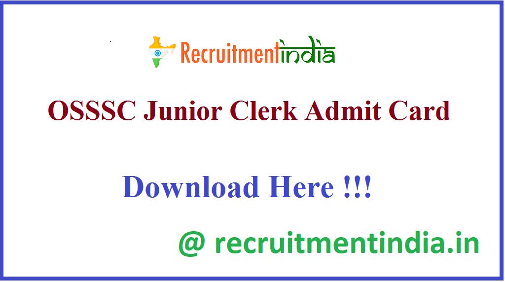 OSSSC Junior Clerk Admit Card
