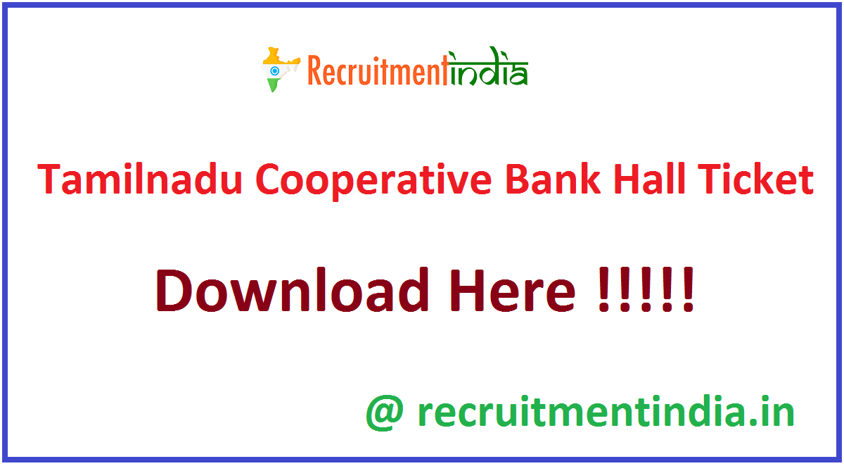 Tamilnadu Cooperative Bank Hall Ticket