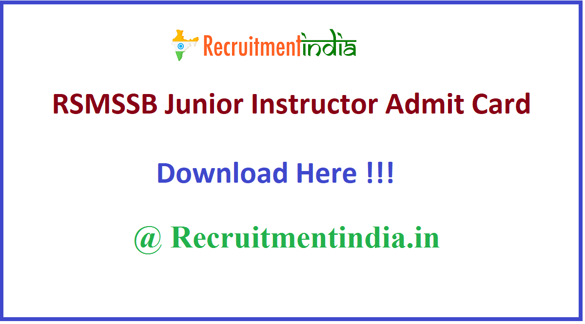 RSMSSB Junior Instructor Admit Card