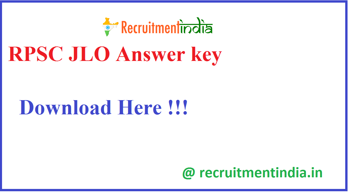 RPSC JLO Answer key