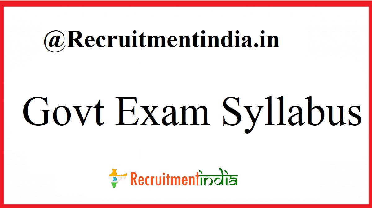 Govt Exam Syllabus