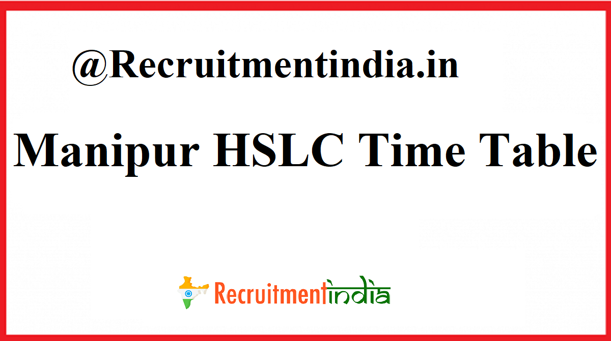 Manipur HSLC Time Table