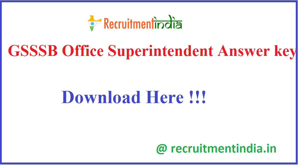 GSSSB Office Superintendent Answer key