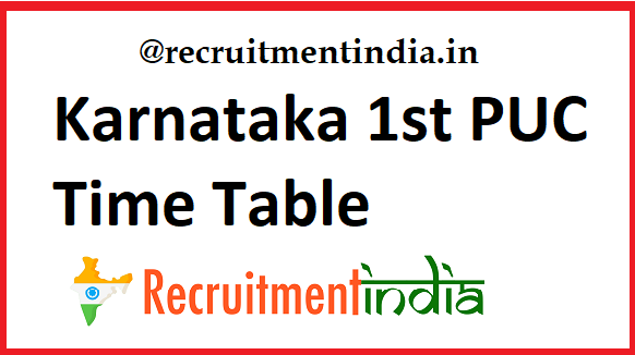 Karnataka 1st PUC Time Table