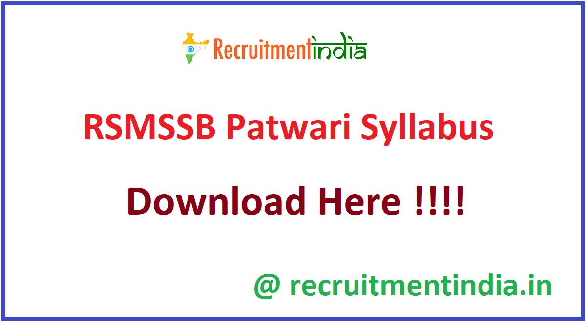 RSMSSB Patwari Syllabus