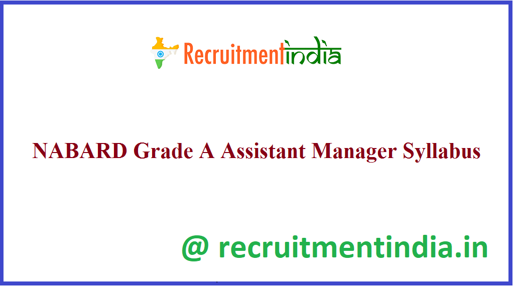 NABARD Grade A Assistant Manager Syllabus