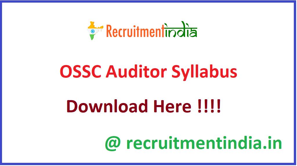 OSSC Auditor Syllabus