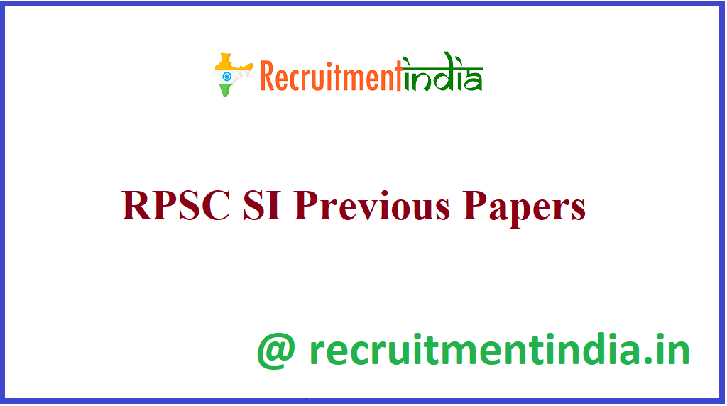 RPSC SI Previous Papers