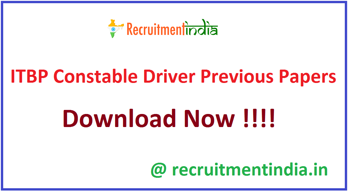 ITBP Constable Driver Previous Papers