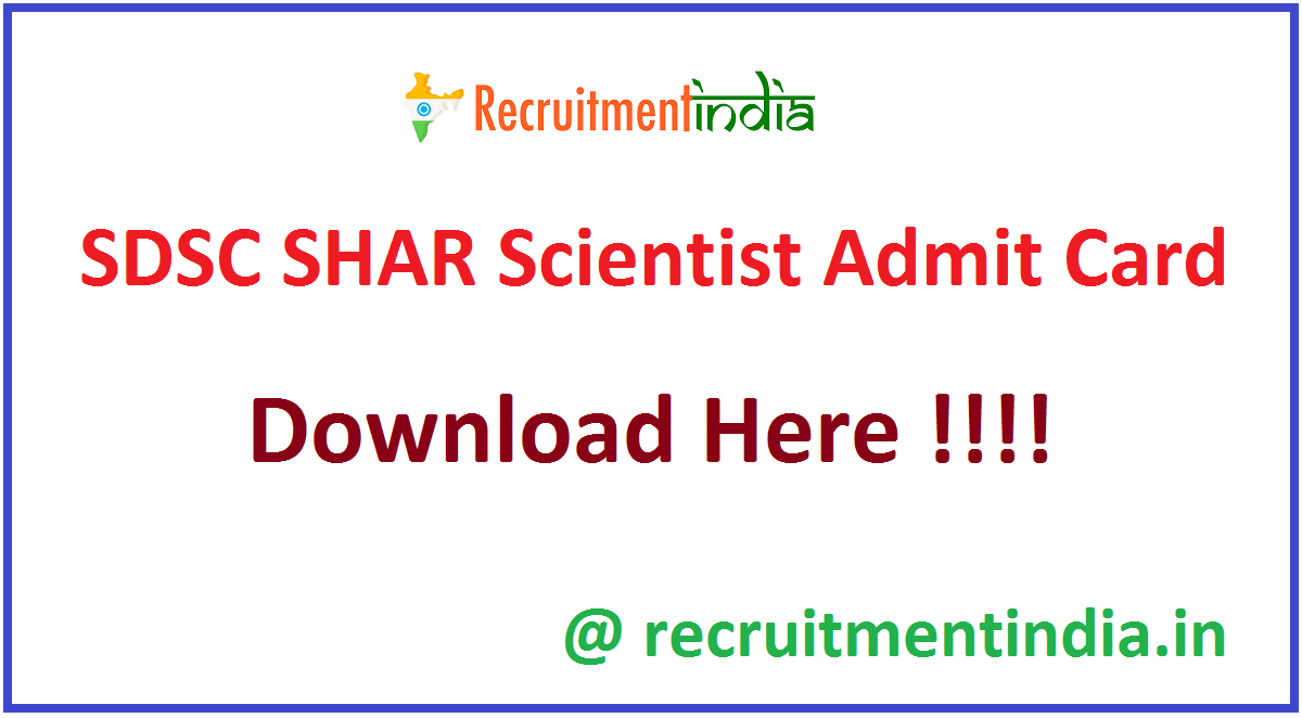 SDSC SHAR Scientist Admit Card