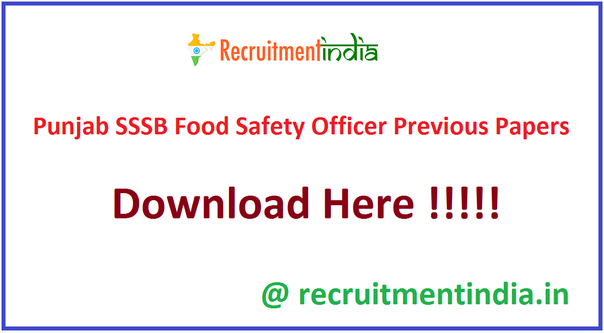 Punjab SSSB Food Safety Officer Previous Papers