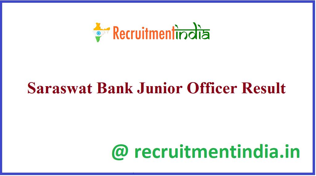 Saraswat Bank Junior Officer Result