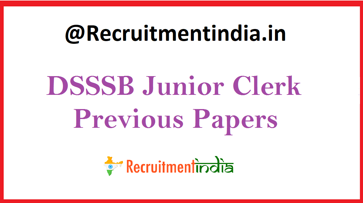 DSSSB Junior Clerk Previous Papers