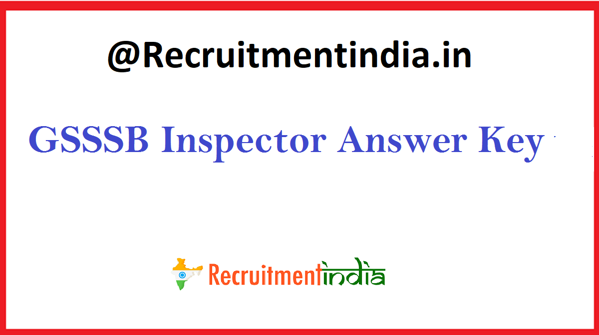 GSSSB Inspector Answer Key