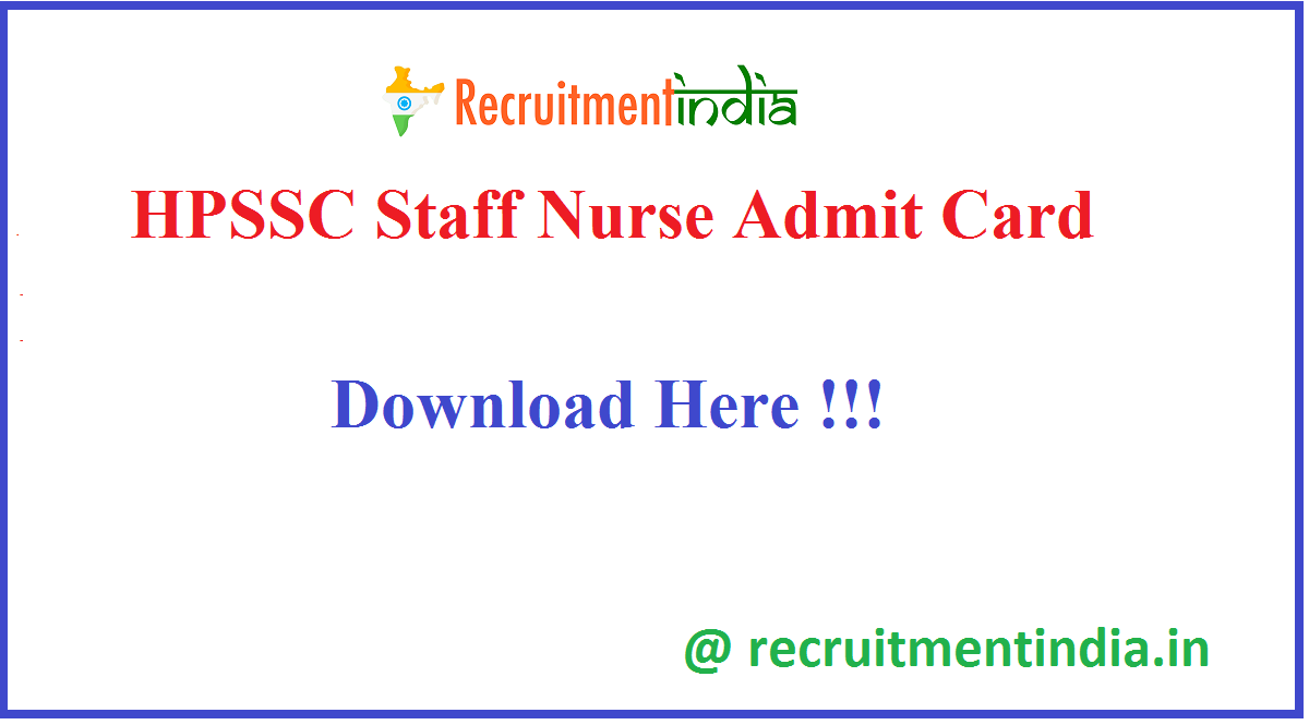 HPSSC Staff Nurse Admit Card